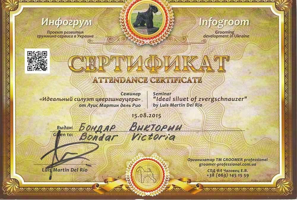 """Сертификат """"Идеальный силуэт цвергшнауцера"""""""