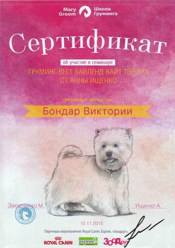 Сертифицированный грумер Бондарь Виктория